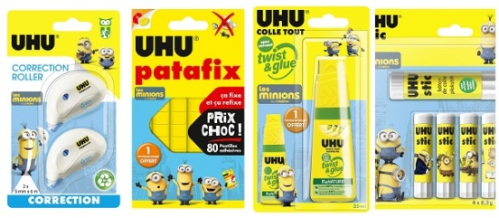 Uhu ha creato una linea di colle e patafix marchiata Minions.